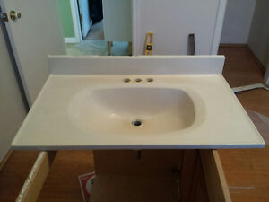 "31""/19"" bathroom vanity top, cultured marble, antique white"