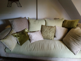 Solid Oak Sofa, with assorted cushions