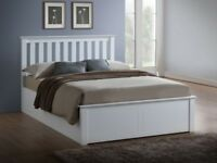 Same Day Free and Fast Delivery -- New Double White Or Oak Wooden Ottoman Storage Bed and mattress