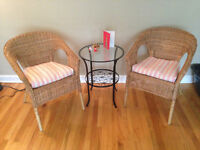Agen Rattan Chairs and Klingsbo iron side table set for $90.00!