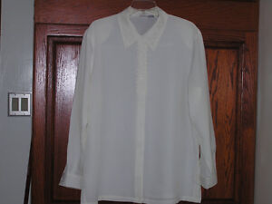 New Woman's White Blouse With Eyelets & Long Sleeves Plus Size