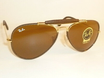 New  RAY BAN Aviator Outdoorsman Brown Leather  RB 3422Q 9041  B-15 Brown (Ray Ban Leather Sunglasses)