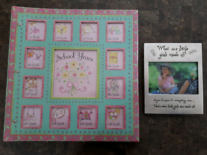 Girls school years memory keepsake book/binder & picture frame