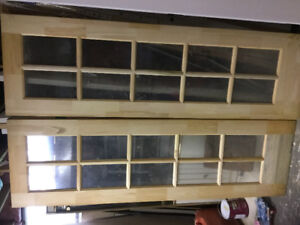 2.   24 by 80 inch pine French doors glass wrapped. 90.00 each.