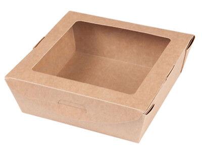 300 Bio Karton mit Fenster Kartonschachtel für Kaltes Salat Box (BIO-04680)-NEU