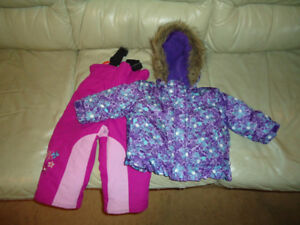 GIRLS 6-12 MONTHS WINTER JACKET WITH 12 MONTHS SNOW PANTS