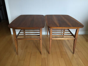 Pair of Mid Century Walnut End Tables, Lane Furniture