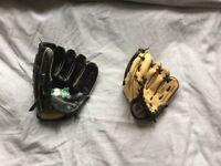 2 baseball gloves 1kids 1 adults Rawlings and bronx