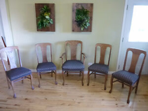 5 Antique T Back Quartersawn Oak Clawfoot Dining Chairs