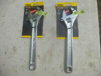"""2 BRAND NEW STANLEY 12 """" ADJUSTABLE WRENCHES WITH WIDER OPENING"""