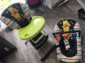 Disney Winnie the Pooh highchair and bouncer
