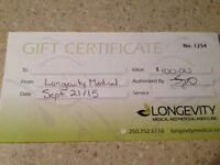 Gift Certificate Longevity Medical Aesthetics