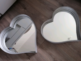 Silver heart mirrors