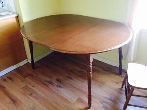 """Maple Dining Table, 44"""" Diameter and 16"""" Leaf"""