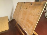 Large wood drafting table