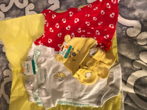 Disney Winnie the Pooh. 3 sleepers. Hat and booties. Red dress