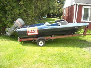 14 FT BOAT, MOTOR AND TRAILER