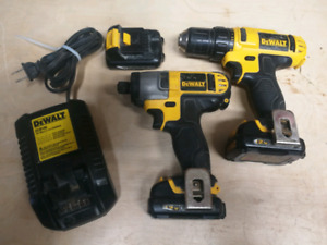 12v dewalt impact and drill, 3 batteries, 2 chargers