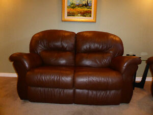 Classic brown leather loveseat