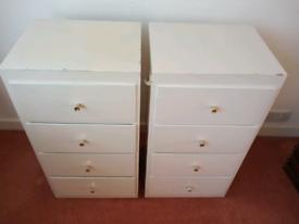 2 matching painted timber drawer units