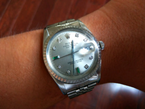 Rolex Datejust 1603 engine-turned bezel 1570 movement serviced