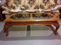 Glass Top Oak Coffee & End Tables