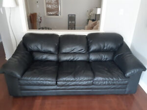 Black Leather Couch (used but good condition)