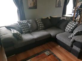 Grey Tweed Corner Sofa & Swivel chair
