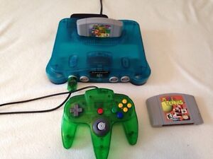 Ice blue N64 with expansion pack,  2 games