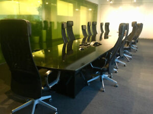 Beautiful Conference Table (powered)   Chairs