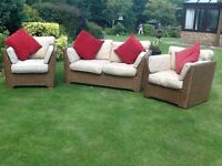 Conservatory settee and two arm chairs