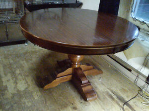 Solid Wood Dining Room Table With Leaf Round Pedestal Design