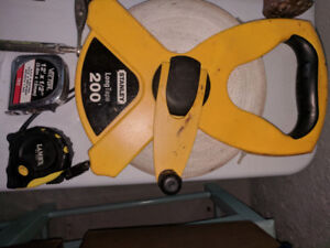 Stanley 200' tape measure, two smaller ones