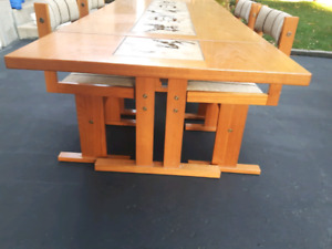 New price vintage teak table with  tiles and 6 chairs