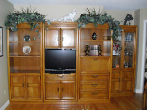 4pc Entertainment unit with matching coffee table and end tables