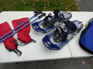 LLBean Snowshoes, Poles, Tatonka Gaiters and Carry Bag