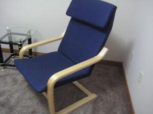 """IKEA""  Poang Birchwood and Royal Blue Modern Arm Chair"