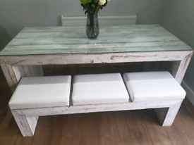 Scandinavian rustic dining table and bench