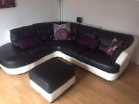 Black and white leather corner sofa