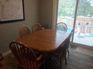 Solid Oak Mennonite Table Set