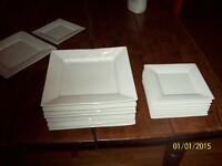 WHITE SQUARE DISHES  8 dinner plates & dessert Barely used