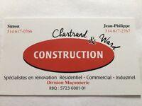Construction Chartrand & Ward, division maçonnerie