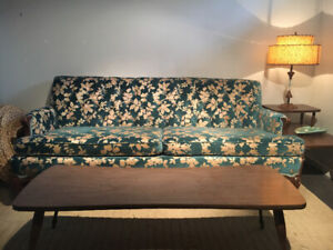 Antique sofa, blue velvet and gold stitching