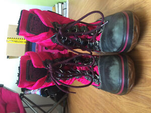 Pink and black Coach winter boots