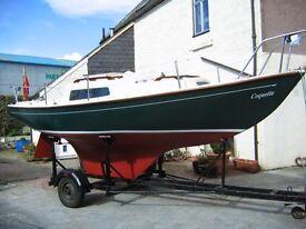 Coribbee 21 foot yacht/road-launching trailer/Yamaha 4hp 4 stroke outboard