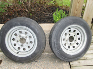 4.8 x 12 galvanized trailer rims with tires
