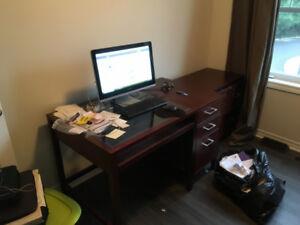 Desk / double file cabinet / shelving unit