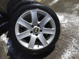 "17"" BMW E46 7 spoke wheels with tyres"
