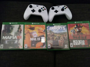Xbox One S w/4 games & 2 Wireless Controllers