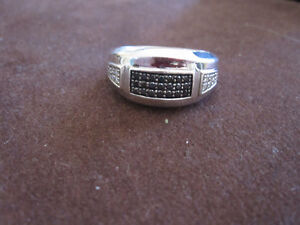 Sterling Silver Men's Diamond Ring